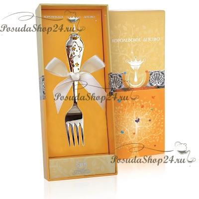 Серебряная детская вилка «ЗВЕЗДА» с позолотой. арт. 925-5-502ВЛ05002