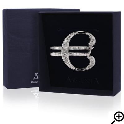 Серебряный зажим для денег «ЕВРО». арт. 925-5-052ЗЖ10001