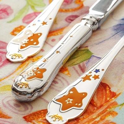 Серебряная детская вилка «ЗВЕЗДА» красная. арт. 925-5-502ВЛ05008